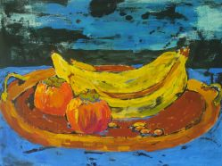 1 Moore, Ann Persimmons, Bananas, Almonds gouache & ink 16x20 $250